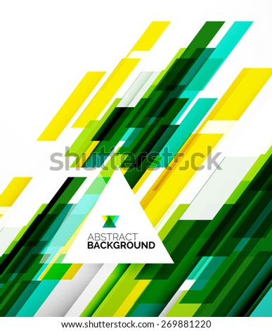 Abstract flyer brochure template design background, simple geometric shapes on white, straight lines and blocks - stock vector