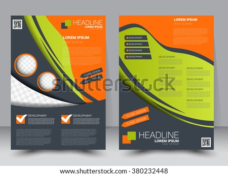 Abstract flyer design background. Brochure template. Can be used for magazine cover, business mockup, education, presentation, report. a4 size with editable elements. Green, orange, and blue color