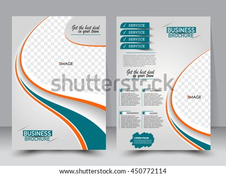 Abstract flyer design background. Brochure template. Can be used for magazine cover, business mockup, education, presentation, report. a4 size with editable elements. Orange and green color. - stock vector