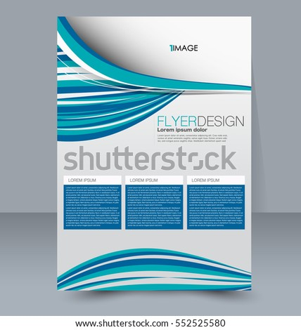 Abstract flyer design background. Brochure template. For magazine cover, business mockup, education, presentation, report. Vector illustration. Blue color.