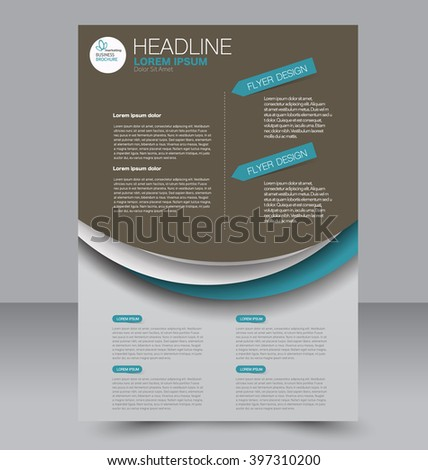 Abstract flyer design background. Brochure template. To be used for magazine cover, business mockup, education, presentation, report. Brown and green color.