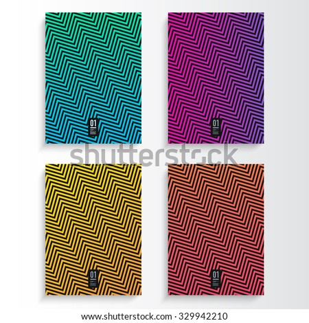 Abstract flyer or book cover design set with different color zig-zag pattern background and your text  Eps 10 stock vector illustration  - stock vector