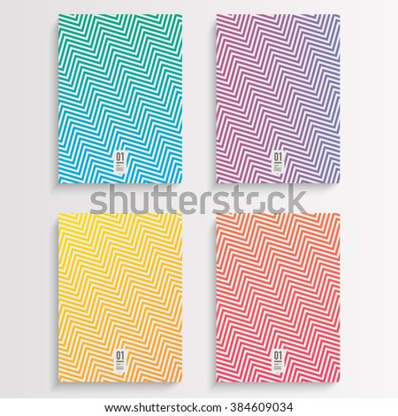 Abstract flyer or book cover design set with zig-zag pattern background and your text  Eps 10 stock vector illustration  - stock vector