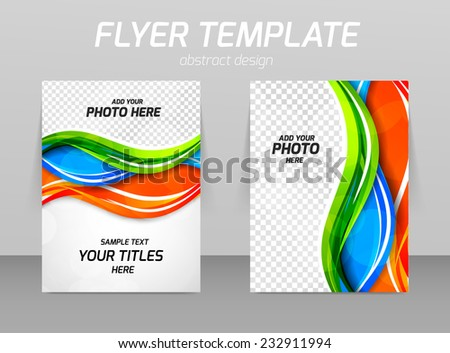Abstract flyer template design in green blue green color - stock vector