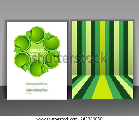 Abstract flyer template design in green color - stock vector