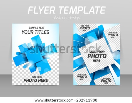 Abstract flyer template design with 3d squares - stock vector