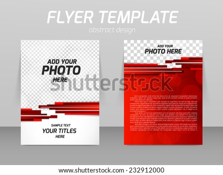 Abstract flyer template design with red stripes - stock vector