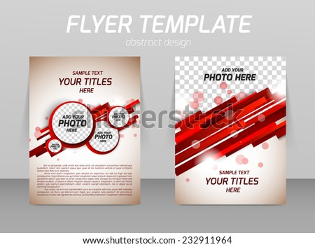 Abstract flyer template design with stripe lines and circles - stock vector