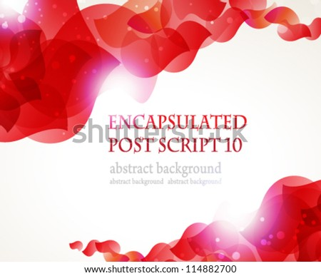 Abstract flying red petals on a white background with place for text