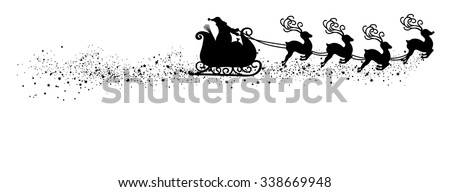 Abstract Flying Santa Claus with Reindeer Sled Vector Illustration - Black Shape - Silhouette with Snow and Starlet Tail. Panorama - Banner with White Background. Isolated X-Mas Symbol. - stock vector