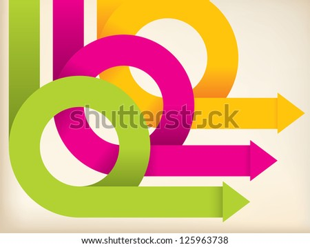 Abstract folded and colored arrows on background - stock vector