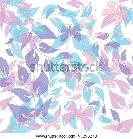 Abstract foliage end butterfly seamless pattern background - stock vector