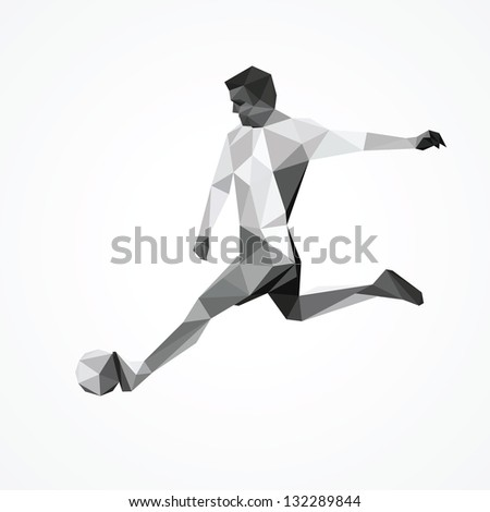 Abstract football player, kick the ball - stock vector