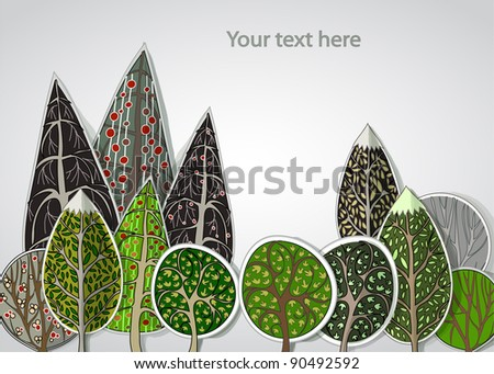 abstract forest background - stock vector