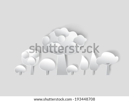 Abstract forest made of white paper background - stock vector