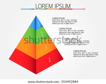 Abstract four step pyramid infographic, Eps10, vector illustration.