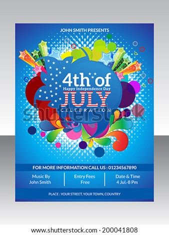 abstract fourth of july flyer template vector illustration - stock vector