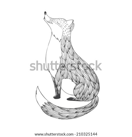 abstract fox smiling - stock vector