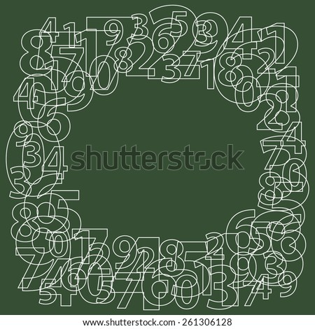 Abstract frame consisting of outline numbers on dark green background.  Random number generator. Numeric vector pattern - stock vector