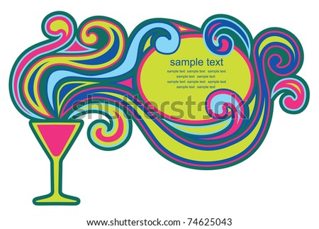 abstract frame design with cocktail. vector illustration - stock vector