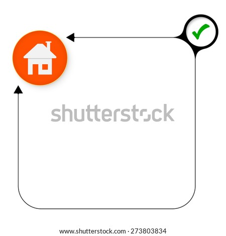 Abstract frame for your text with check box and home symbol - stock vector