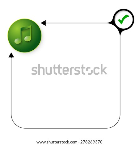 Abstract frame for your text with check box and music icon - stock vector