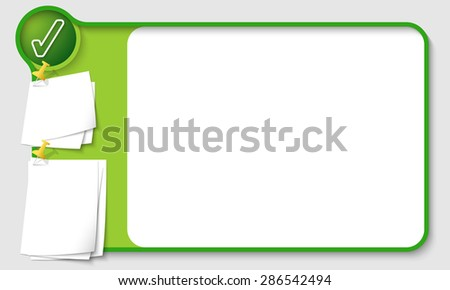 Abstract frame for your text with check box and  papers for remark - stock vector