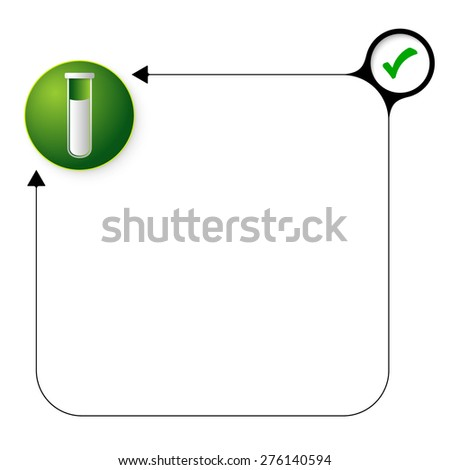 Abstract frame for your text with check box and test tube - stock vector