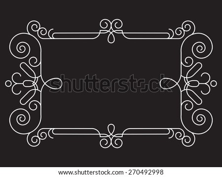 Abstract frame with floral elements. White frame for your text on black background - stock vector