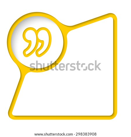 Abstract frame with inner shadow and quotation mark - stock vector