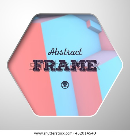 Abstract frame with overlapping cubes on the background - stock vector