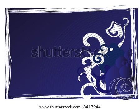 abstract framed background with blue  bubbles