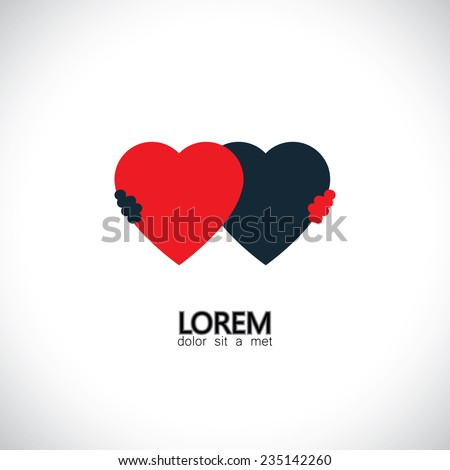 abstract friendship concept vector icon of love of hearts. This graphic also represents couple in love, hug and embrace, close friends together, events like engagement, wedding, marriage live-in - stock vector