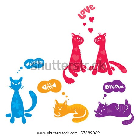 abstract funny cats - stock vector