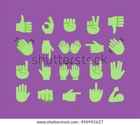 Abstract funny flat style halloween hand emoji emoticon icons