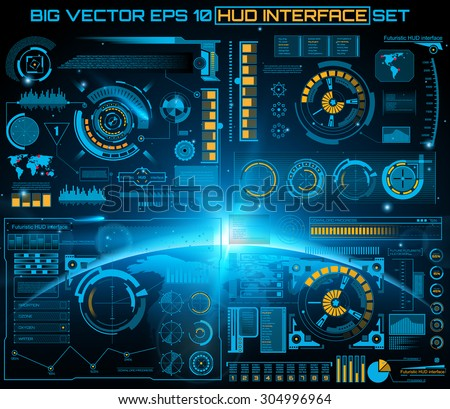 Abstract future, concept vector futuristic blue virtual graphic touch user interface HUD. For web, site, mobile applications isolated on black background, techno, online design, business, gui, ui - stock vector