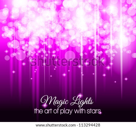 Abstract futuristic background with striped lights and a flow of sparkling stars. Ideal for cover, brochures or posters. - stock vector