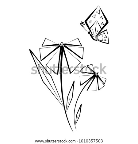 Abstract futuristic butterfly and flower. Elements for decoration and design. Black silhouette on a white background.