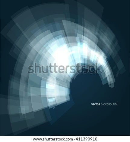 Abstract futuristic circles on blue background - stock vector