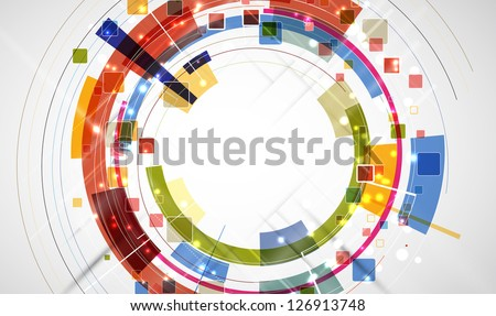 abstract futuristic computer technology round business banner - stock vector