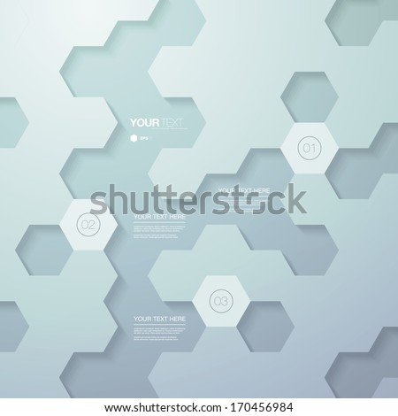 Abstract futuristic hexagon shape infographic design template for your business presentation with text and numbers  Eps 10 vector illustration  - stock vector