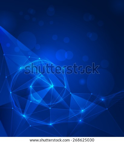 Abstract futuristic - Molecules and wave digital technology blue background. Illustration Vector design digital technology concept.Blank space for your design or text - stock vector