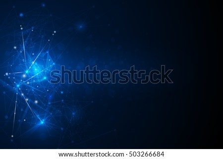 Abstract futuristic - Molecules technology with linear and polygonal pattern shapes on dark blue background. Illustration Vector design digital technology concept