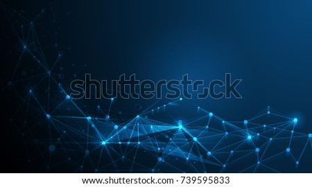 Abstract futuristic - Molecules technology with polygonal shapes on dark blue background. Illustration Vector design digital technology concept.