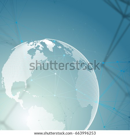 Abstract futuristic network shapes. High tech background, connecting lines and dots, polygonal linear texture. World globe on blue. Global network connections, geometric design, dig data concept.