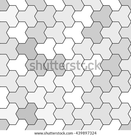 Abstract futuristic technological texture with geometric puzzle elements of differently shaded gray color. Vector seamless pattern. - stock vector