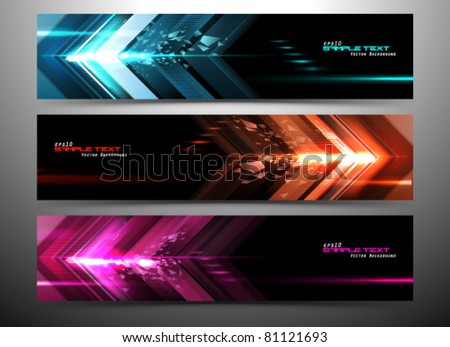 abstract futuristic website banner set vector illustration - stock vector