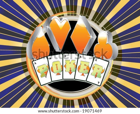 abstract gambling Poker vector style with cards