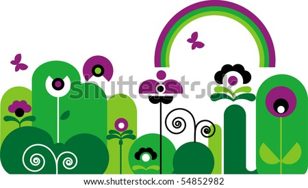 abstract garden with butterfly, rainbow and green and purple flowers with swirls - stock vector