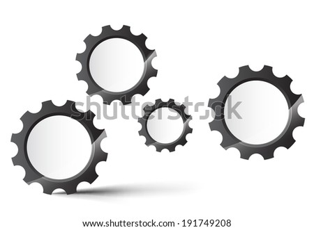 Abstract gear wheels. Vector design template on white background